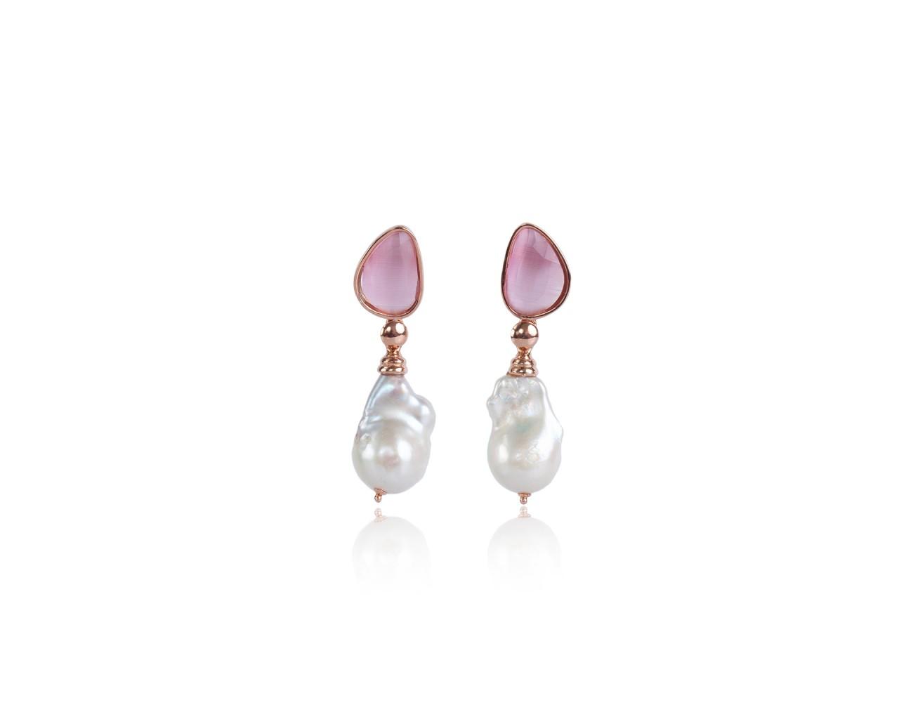 Orecchini in argento con pietre color rosa e perle barocche naturali