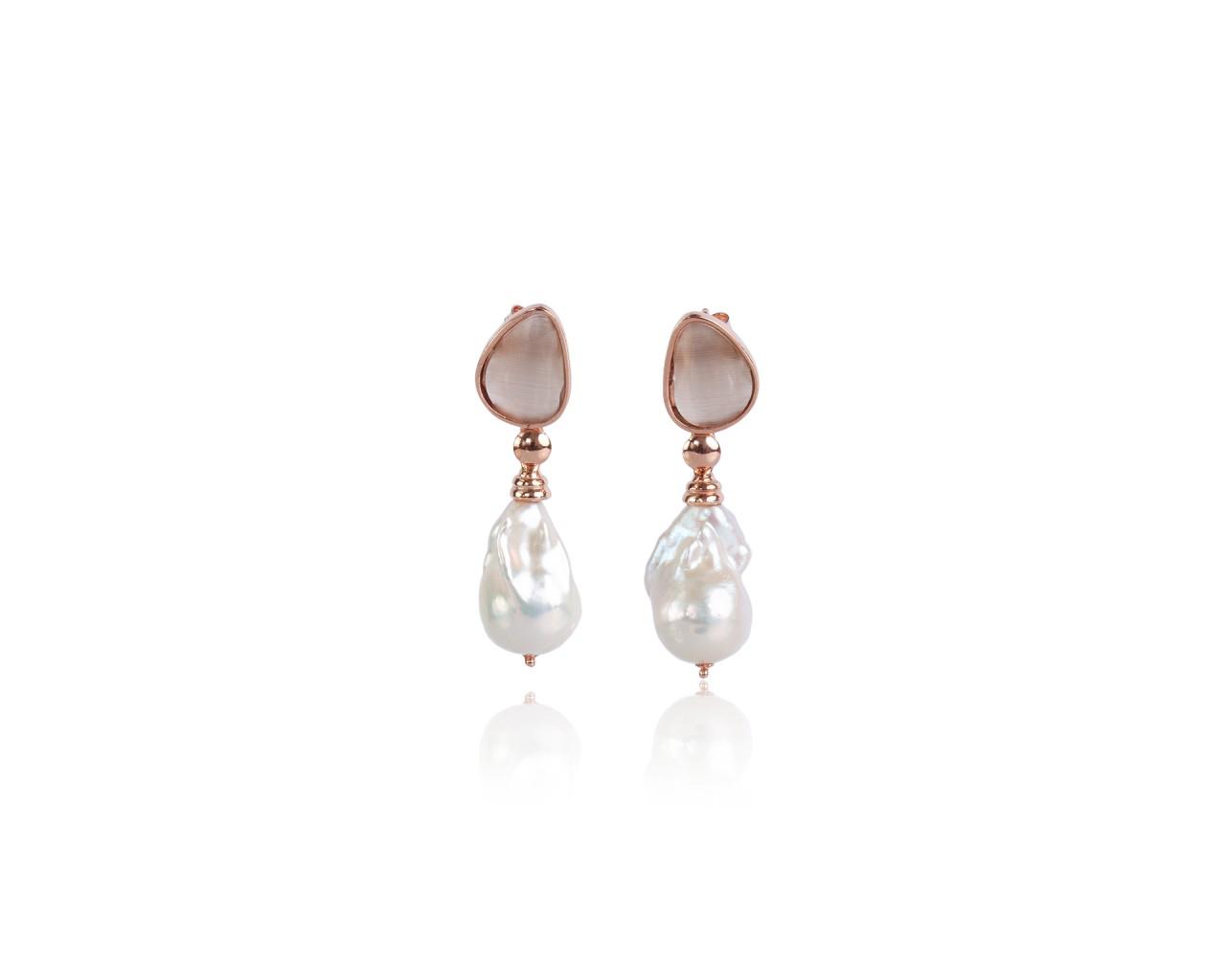 Orecchini in argento con pietre color marrone e perle barocche naturali