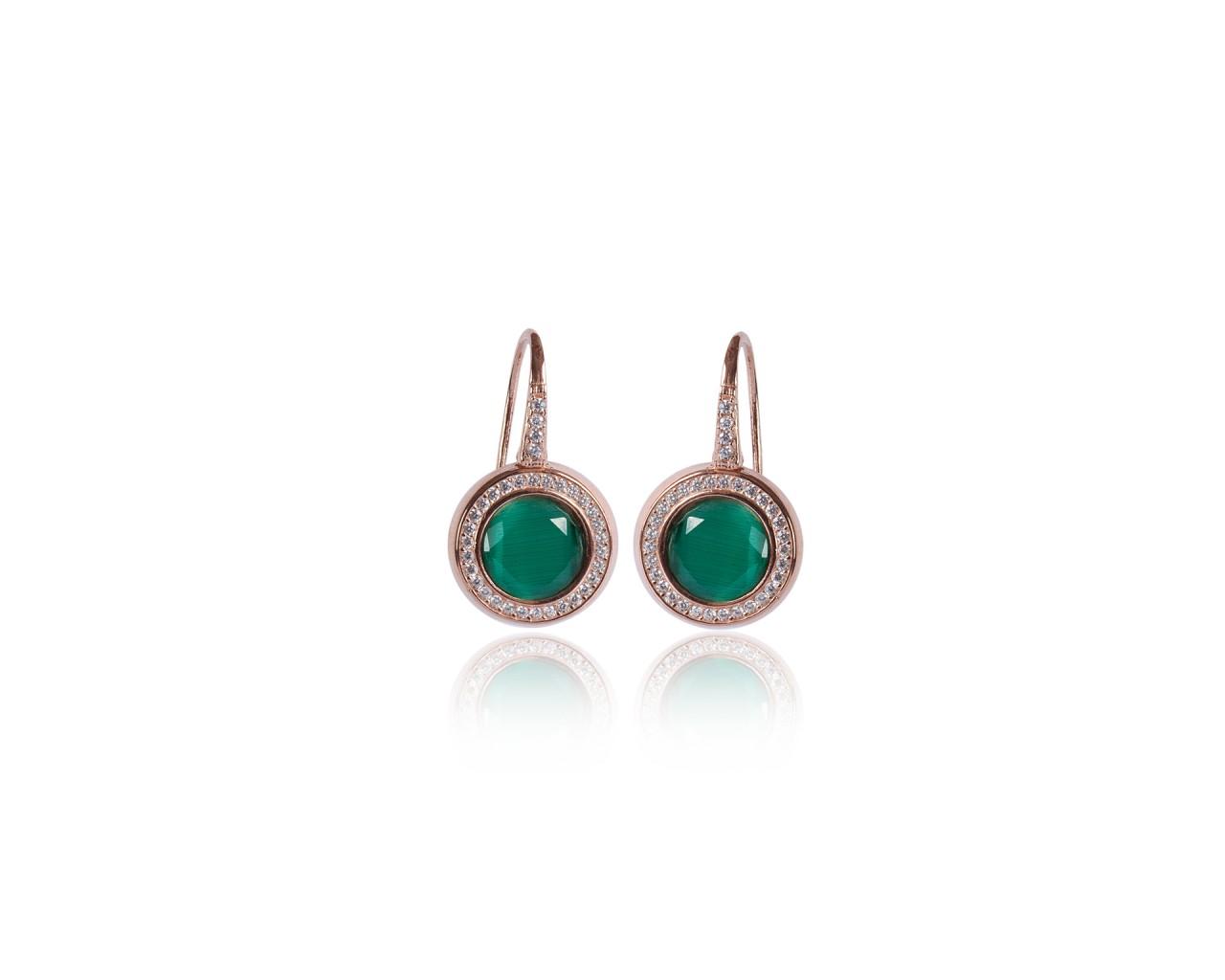 Orecchini in argento con finitura rosè e pietre dure color verde scuro
