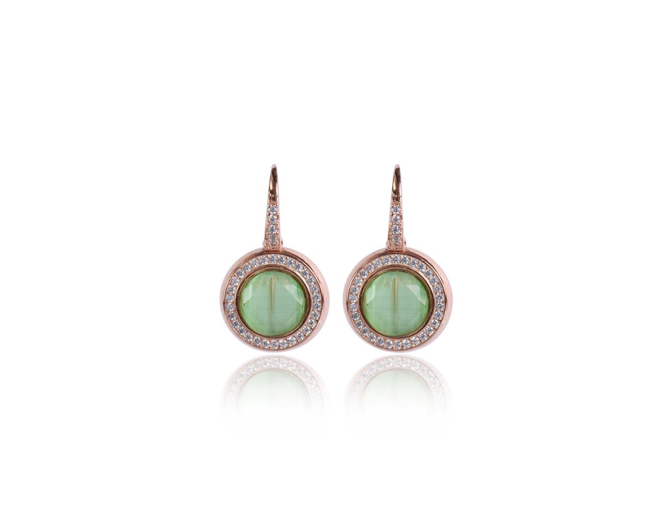 Orecchini in argento con finitura rosè e pietre dure color verde chiaro