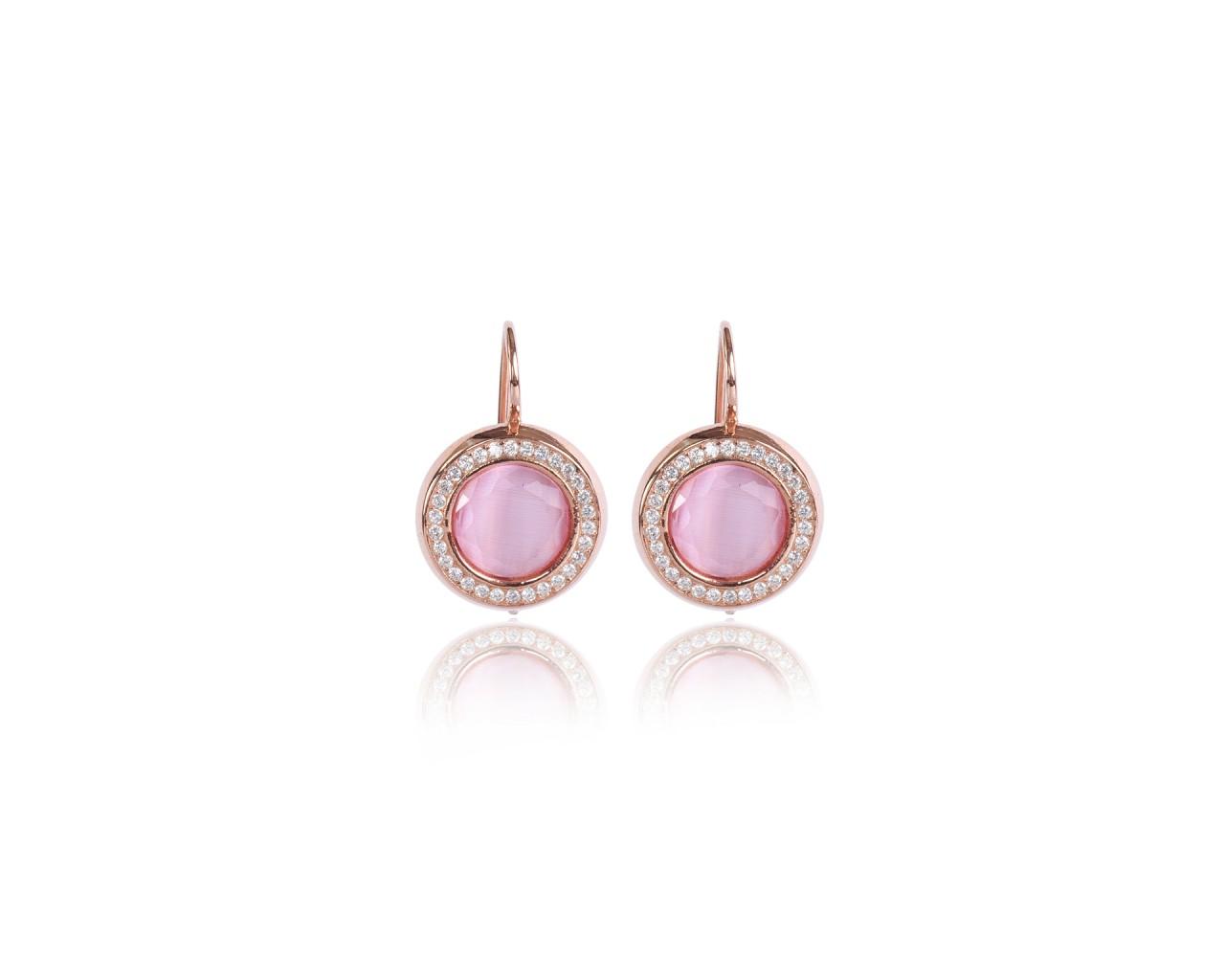 check-out 9262f d714d Orecchini in argento con finitura rosè e pietre color rosa