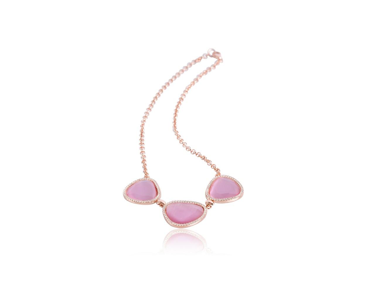 Collana in argento con finitura rosè e pietre di color rosa