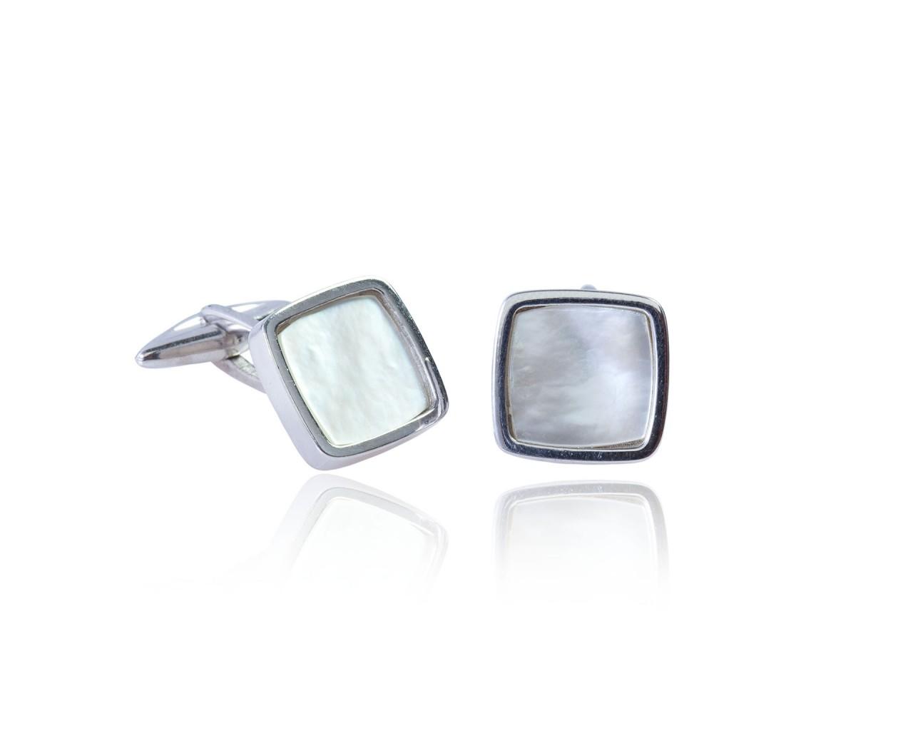 Gemelli in argento 925 con pietre in forma quadrata di madreperla naturale