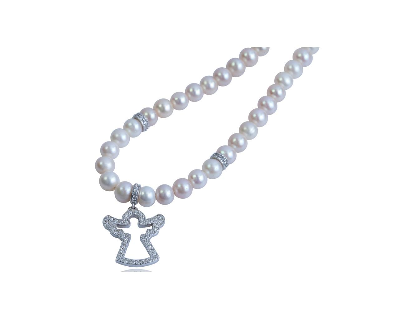 Collana in argento 925 con perle di fiume e ciondolo
