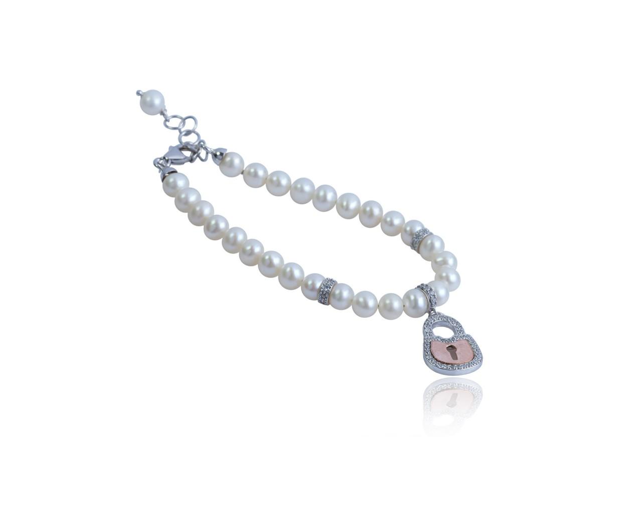 Bracciale in argento con perle di fiume e ciondolino raffigurante un catenaccio dell amore