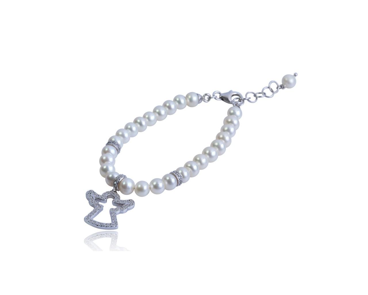 Bracciale in argento con perle di fiume e ciondolino raffigurante un angelo
